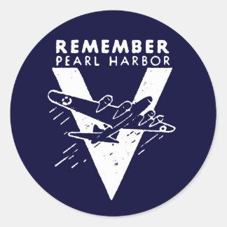 El blanco de WWII recuerda el Pearl Harbor Pegatinas Redondas