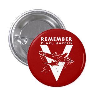 El blanco de WWII recuerda el Pearl Harbor Pin Redondo De 1 Pulgada