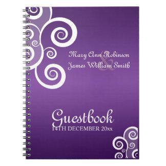 El blanco del Guestbook del boda remolina púrpura Libreta Espiral