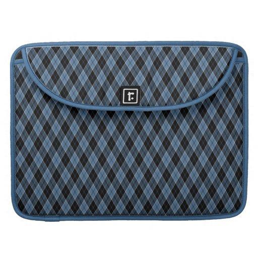 El blanco del negro azul de Argyle raya el modelo  Fundas Para Macbooks