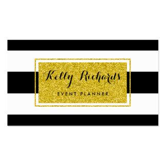 El blanco del negro del encanto del oro raya la ta tarjeta de visita