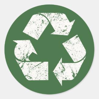 El blanco del vintage de TJED recicla la muestra Pegatina Redonda
