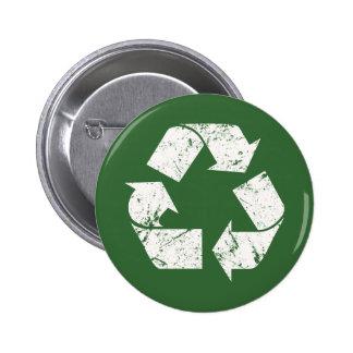 El blanco del vintage de TJED recicla la muestra Pin Redondo De 2 Pulgadas