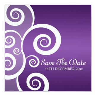 El blanco elegante del boda remolina púrpura invitación 13,3 cm x 13,3cm