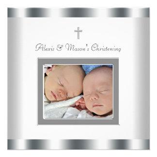 El blanco elegante hermana invitaciones del bautiz invitaciones personalizada