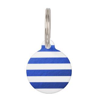 El blanco elegante raya la hoja azul impresa placas para mascotas