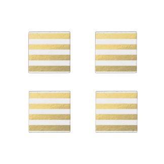 El blanco elegante raya la hoja de oro impresa imán de piedra