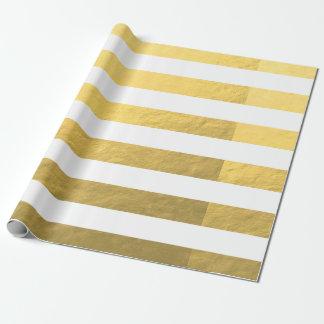 El blanco elegante raya la hoja de oro impresa papel de regalo