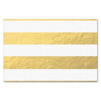 El blanco elegante raya la hoja de oro impresa papel de seda pequeño