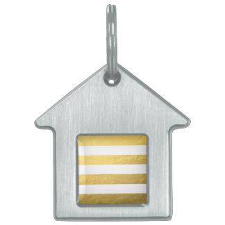 El blanco elegante raya la hoja de oro impresa placa de mascota
