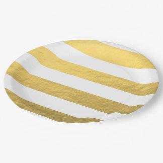 El blanco elegante raya la hoja de oro impresa plato de papel de 9 pulgadas