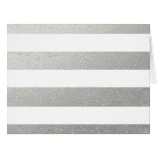 El blanco elegante raya la hoja de plata impresa tarjeta de felicitación grande