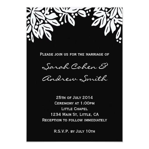 El blanco floral sellado del boda invita invitación 12,7 x 17,8 cm