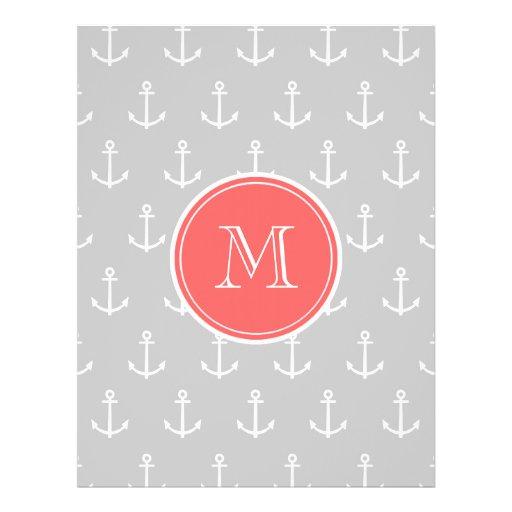 """El blanco gris ancla el modelo, monograma coralino folleto 8.5"""" x 11"""""""