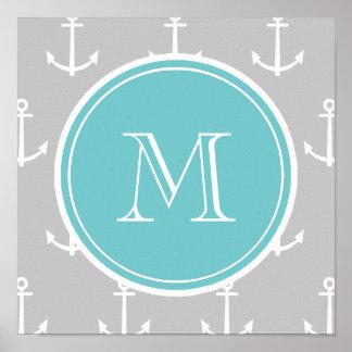 El blanco gris ancla el modelo, monograma del trul poster