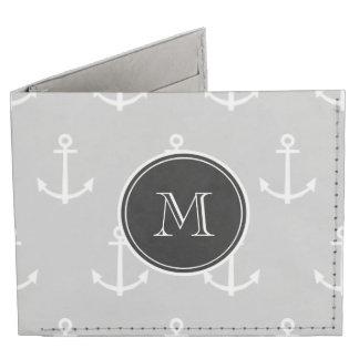 El blanco gris ancla el modelo, monograma negro billeteras tyvek®