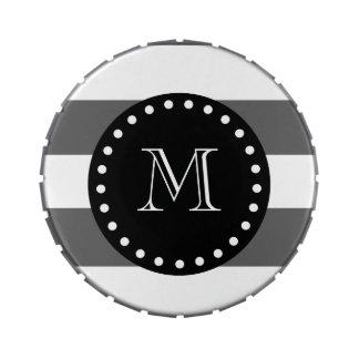 El blanco gris de carbón de leña raya el modelo, frascos de dulces