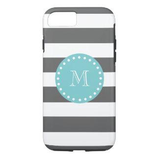 El blanco gris de carbón de leña raya el modelo, funda iPhone 7