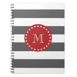 El blanco gris de carbón de leña raya el modelo m libretas