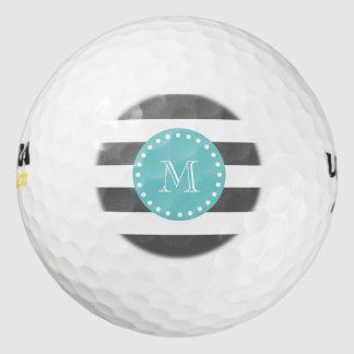 El blanco gris de carbón de leña raya el modelo, pack de pelotas de golf