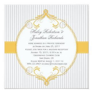 """El blanco gris del marco amarillo raya el boda invitación 5.25"""" x 5.25"""""""
