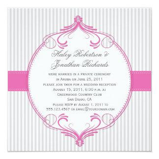 """El blanco gris del marco rosado raya el boda invitación 5.25"""" x 5.25"""""""