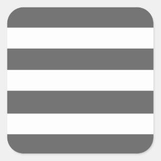 El blanco gris moderno de carbón de leña raya el pegatina cuadrada