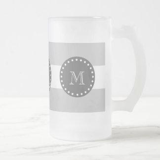 El blanco gris raya el modelo, monograma del carbó taza