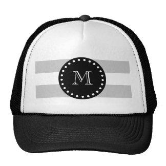 El blanco gris raya el modelo, monograma negro gorras de camionero