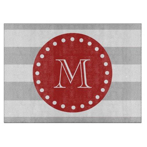 El blanco gris raya el modelo, monograma rojo