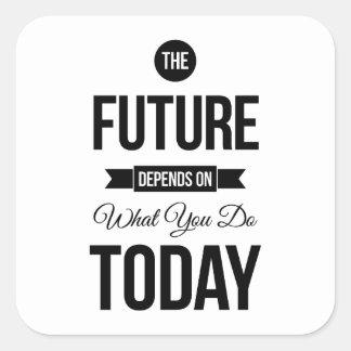 El blanco inspirador de la cita del futuro pegatina cuadrada