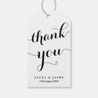 El blanco le agradece caligrafía moderna linda etiquetas para regalos