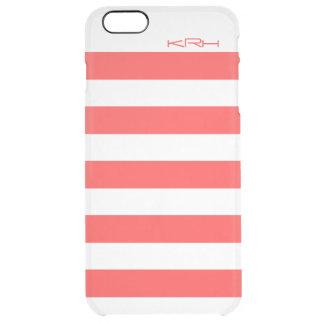 El blanco moderno raya el fondo rojo coral funda clearly™ deflector para iPhone 6 plus de unc