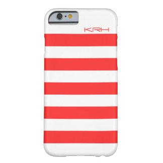 El blanco moderno raya el fondo rojo coral funda para iPhone 6 barely there