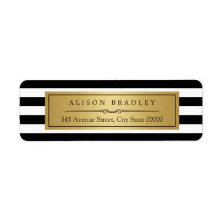 El blanco negro clásico raya la etiqueta del oro etiqueta de remitente