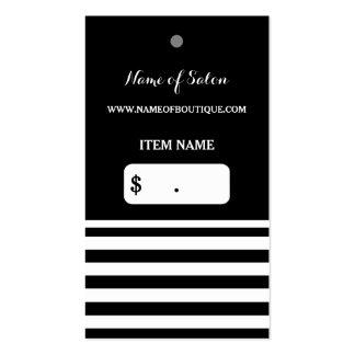 El blanco negro de moda raya la etiqueta colgante tarjetas de visita