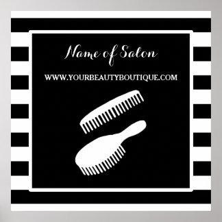 El blanco negro de moda raya la muestra del salón póster