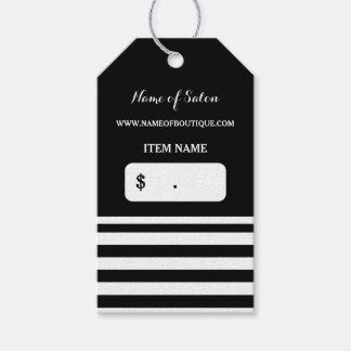 El blanco negro de moda raya precios del salón de etiquetas para regalos