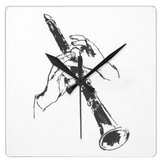 El blanco negro del vintage da el Clarinet Benny G Relojes De Pared