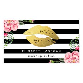 El blanco negro floral de los labios del oro raya tarjetas de visita
