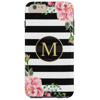 El blanco negro floral romántico femenino raya el funda resistente iPhone 6 plus