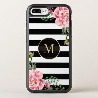 El blanco negro floral romántico raya el monograma funda OtterBox symmetry para iPhone 7 plus