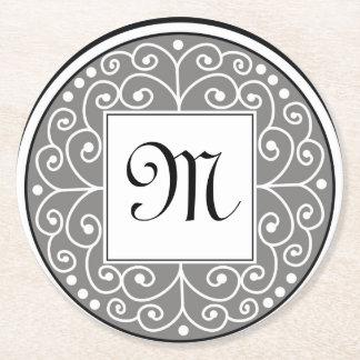 El blanco negro gris con monograma remolina modelo posavasos de cartón redondo