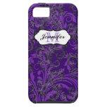 El blanco negro púrpura del monograma remolina cas iPhone 5 Case-Mate carcasas