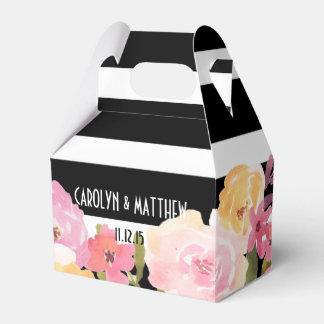 El blanco negro raya el boda floral de la acuarela cajas para regalos de boda