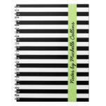 El blanco negro raya nombre personalizado verde li libros de apuntes con espiral