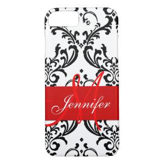 El blanco negro rojo con monograma remolina funda iPhone 7