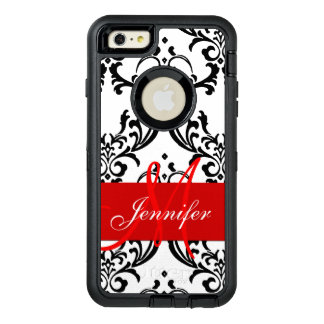 El blanco negro rojo con monograma remolina funda OtterBox defender para iPhone 6 plus