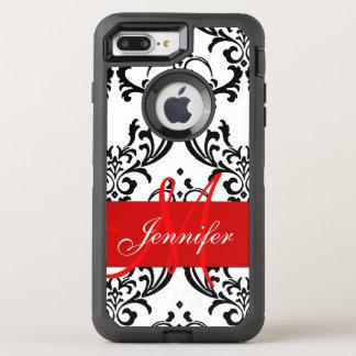 El blanco negro rojo con monograma remolina funda OtterBox defender para iPhone 7 plus
