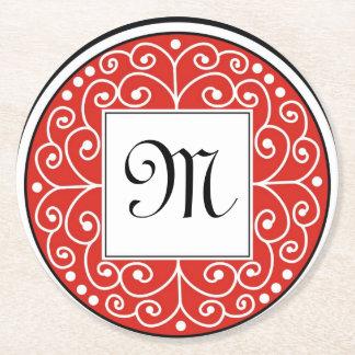 El blanco negro rojo con monograma remolina modelo posavasos personalizable redondo